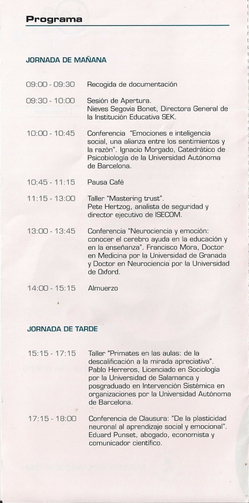Programa en el SEK con Eduard Punset